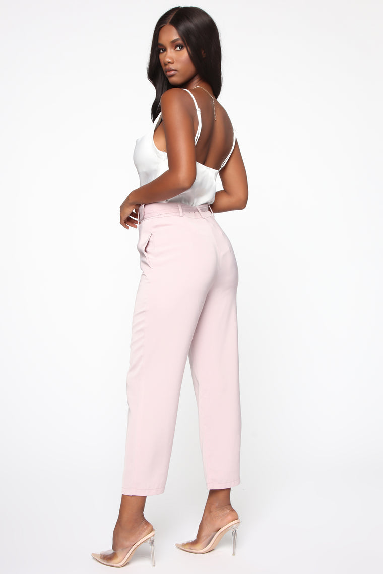 Irene Belted Crop Pants - Mauve