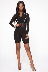 Andrea Colorblock Mesh Bodysuit - Black/Pink Angle 3