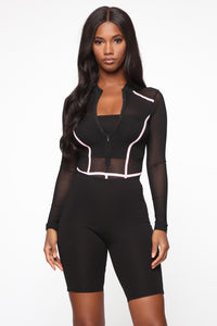 Andrea Colorblock Mesh Bodysuit - Black/Pink Angle 2
