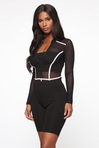 Andrea Colorblock Mesh Bodysuit - Black/Pink Angle 4