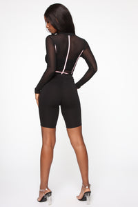 Andrea Colorblock Mesh Bodysuit - Black/Pink Angle 6