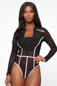 Andrea Colorblock Mesh Bodysuit - Black/Pink Angle 1
