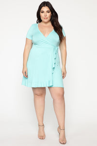Shirley Wrap Mini Dress - Mint