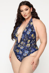 High Dive Plunging Swimsuit - Blue