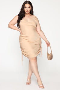 Come Pull My Strings Mini Dress - Taupe Angle 9