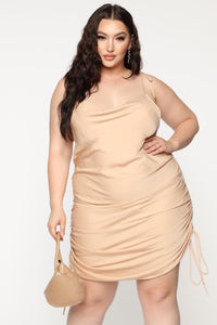 Come Pull My Strings Mini Dress - Taupe Angle 2