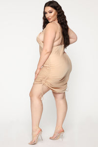 Come Pull My Strings Mini Dress - Taupe Angle 11