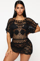 Beach Party Crochet Swim Cover Up - Black