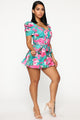 Out Here To Blossom Romper - Green/Combo