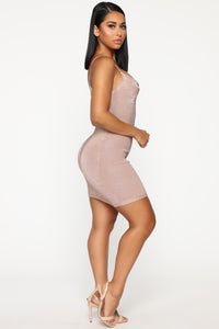 Breathe Taking Metallic Mini Dress - Rose Gold