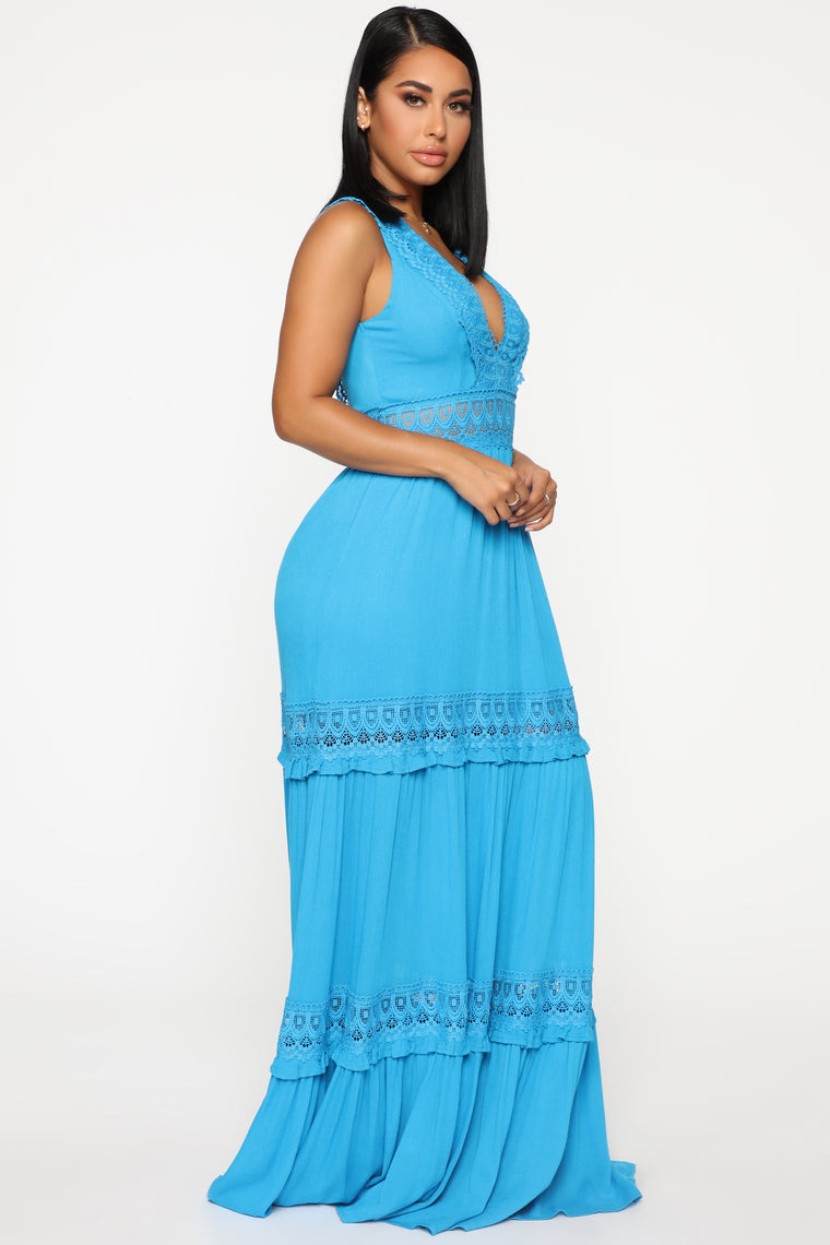 Who's That Girl Crochet Maxi Dress - Turquoise