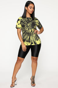 Come See About Me Tie Dye Top - Black/Lime