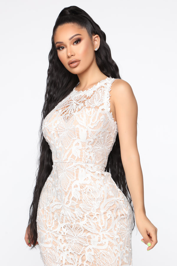5b8e6fbc5069 Giving Into You Crochet Gown - Ivory