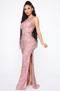 Giving Into You Crochet Gown - Mauve