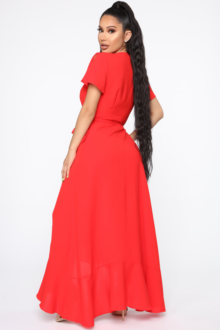 Lift Me Up Wrap Maxi Dress - Red