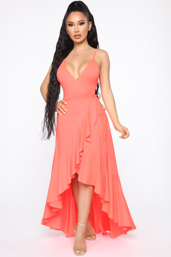 8c3a49490 Every Strut Wrap Maxi Dress - Neon Coral