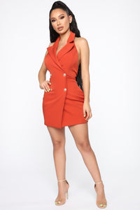 Always In Charge Blazer Mini Dress - Rust Angle 2