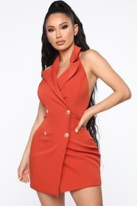 Always In Charge Blazer Mini Dress - Rust Angle 1