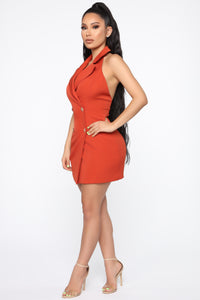 Always In Charge Blazer Mini Dress - Rust Angle 3
