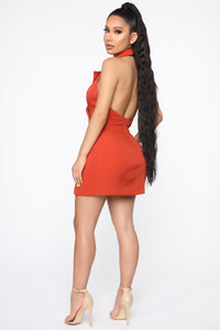 Always In Charge Blazer Mini Dress - Rust Angle 4