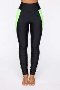 Ruched And Ready High Rise Leggings - Neon Green