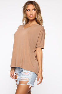 Give Me Tea Oversized Tee - Camel