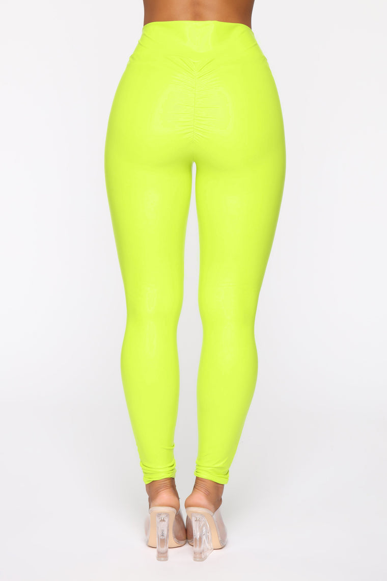 Party In The Back Ruched Leggings - Neon Yellow