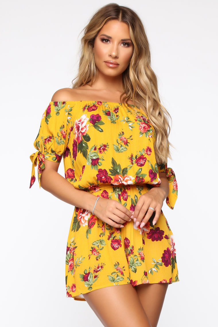 forever-a-lady-floral-romper---mustard by fashion-nova
