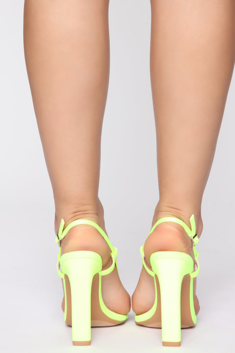 Endless Nights Heeled Sandals - Neon Yellow