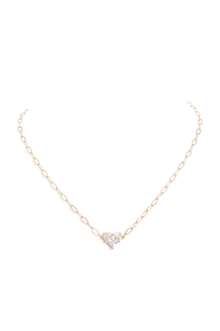 Icy Heart Necklace - Gold