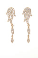 Flame On Rhinestone Earrings - Gold