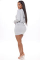 Going With The Flow Hoodie Skirt Set - Grey