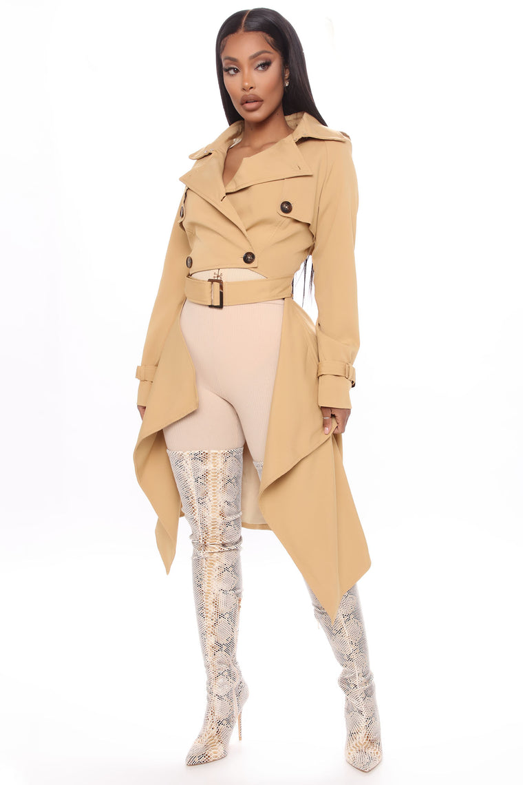 Runway Vibes Crop Trench Coat - Taupe