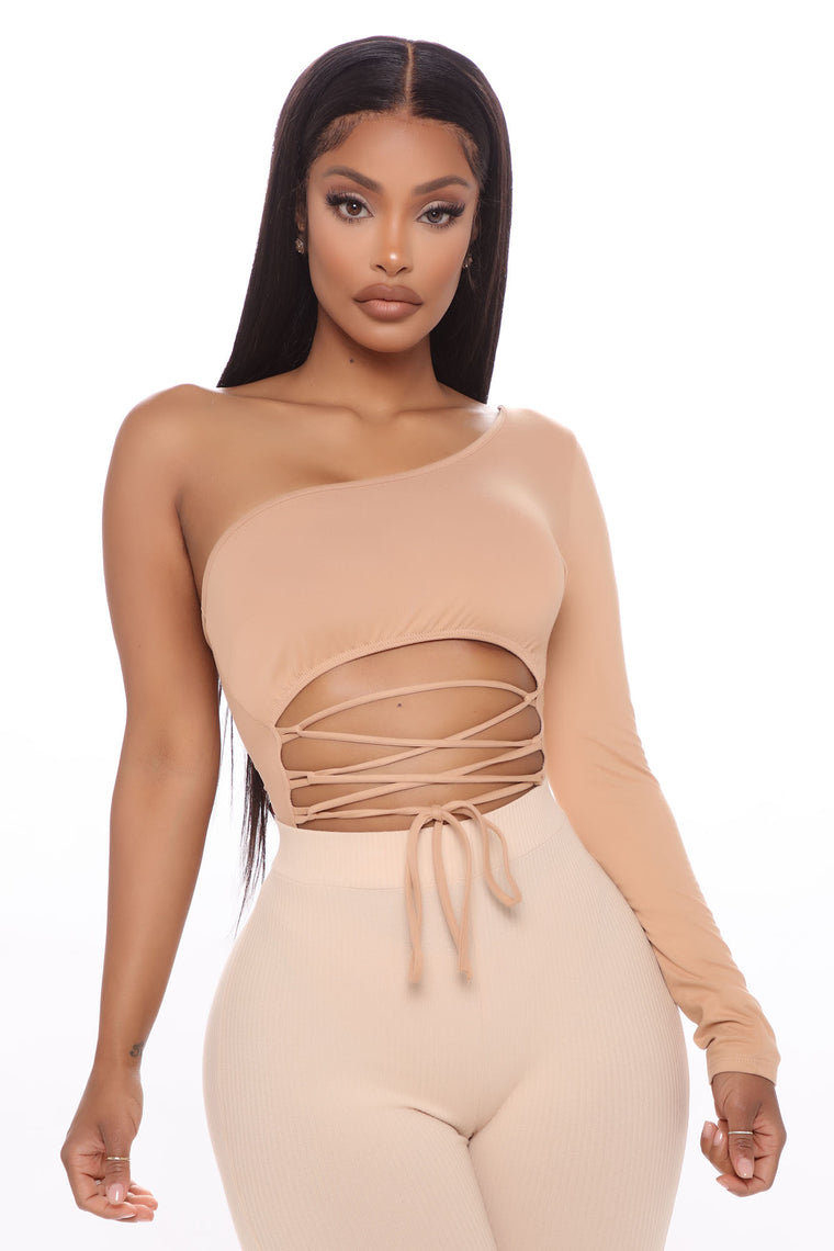 Cut To The Lace Up Bodysuit - Taupe