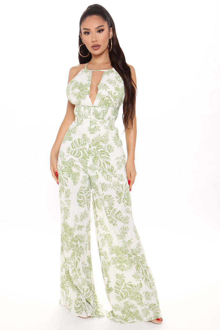 Taking A Breather Tropical Jumpsuit - Green/combo