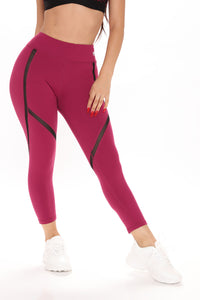 All In Your Head Active Leggings - Wine Angle 2