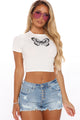 Butterfly Crop Top - White