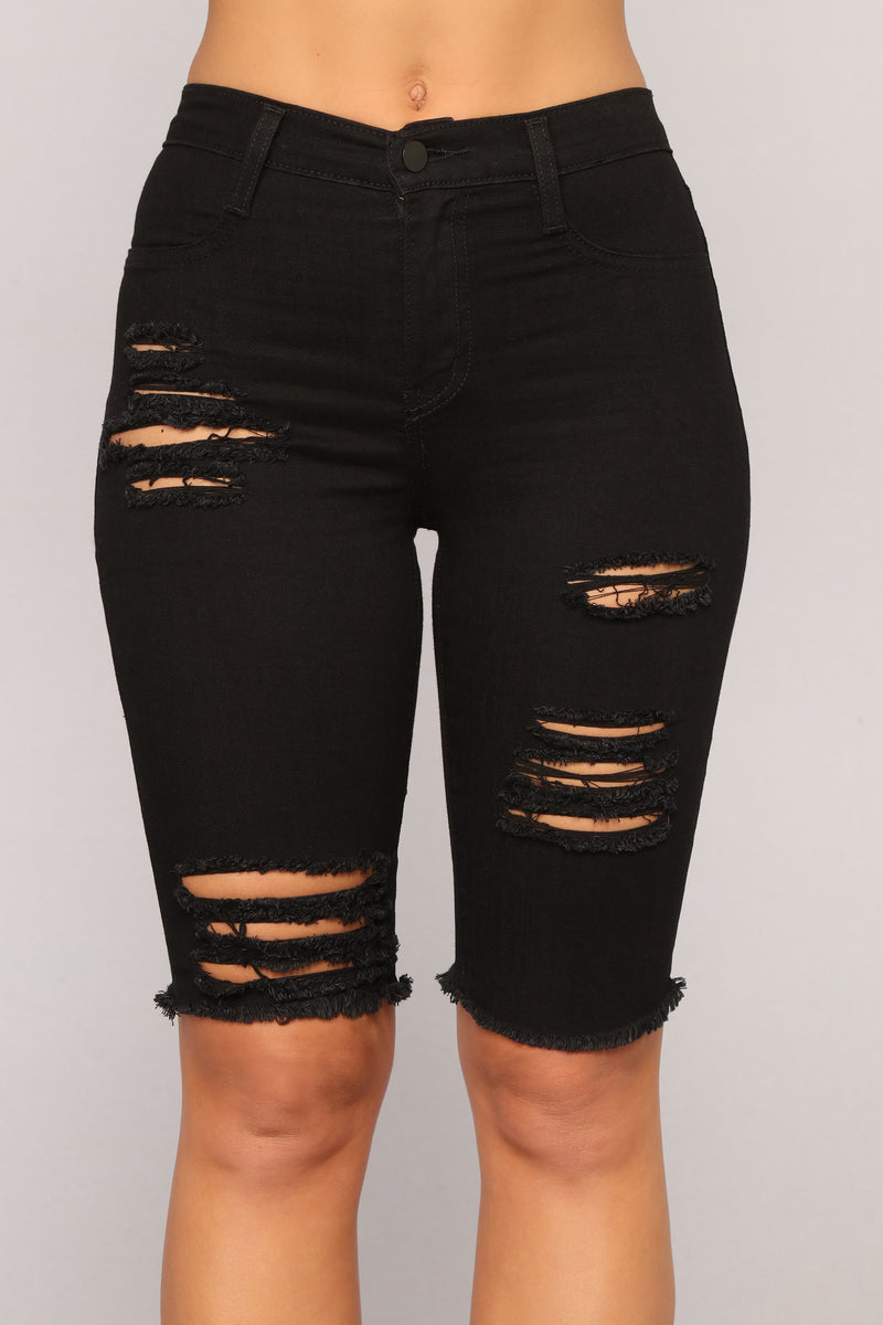 My Favorite Denim Bermuda Shorts - Black