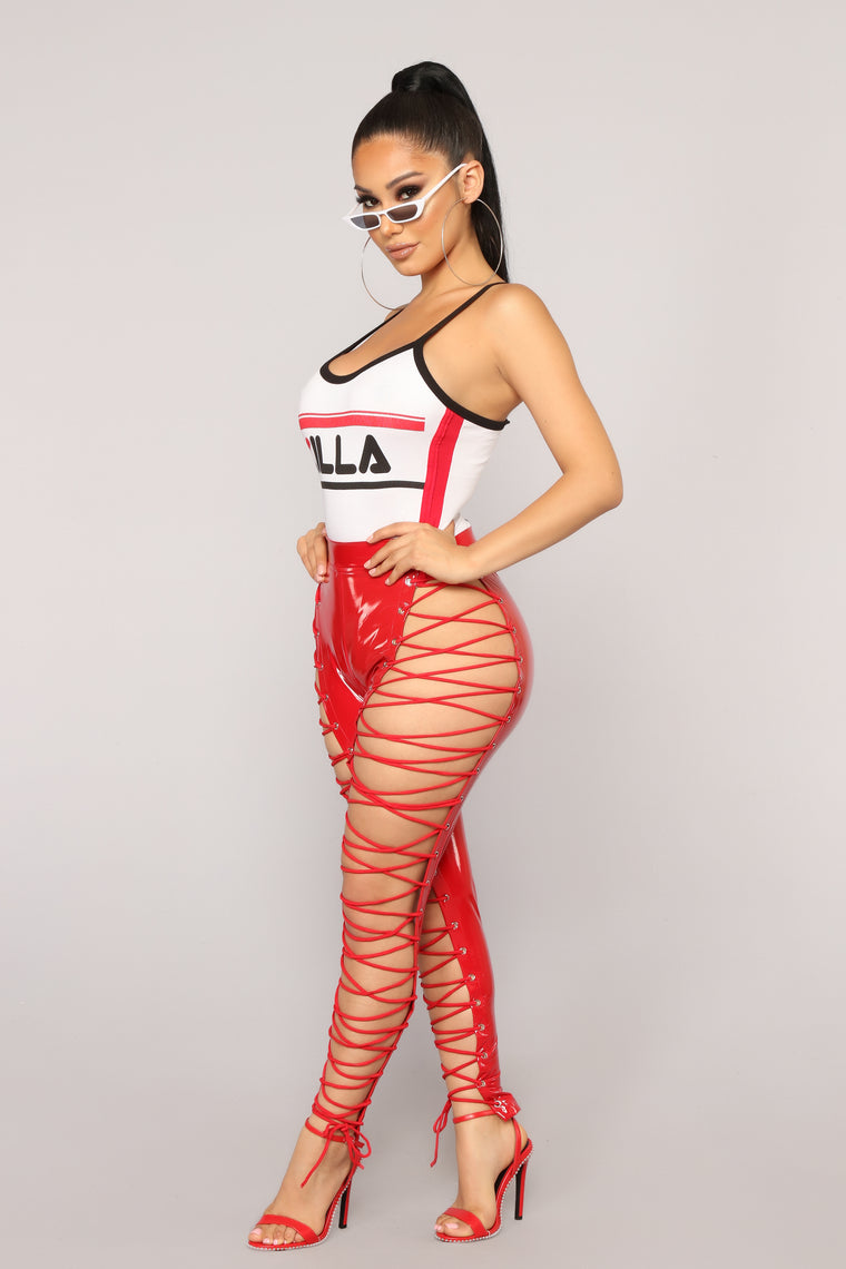 She's A Maneater Lace Up Pants - Red