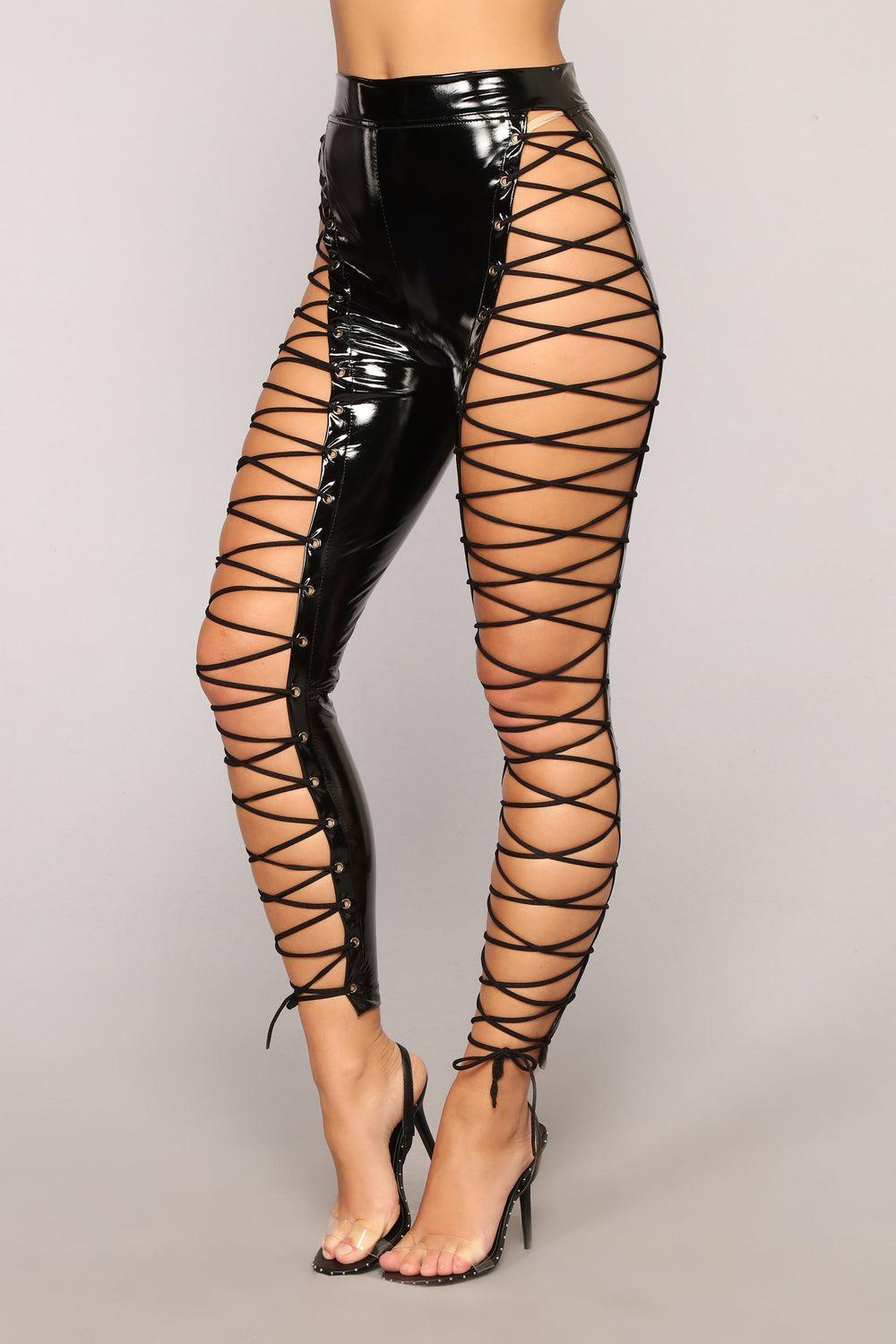 She's A Maneater Lace Up Pants - Black