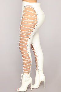 She's A Maneater Lace Up Pants - White