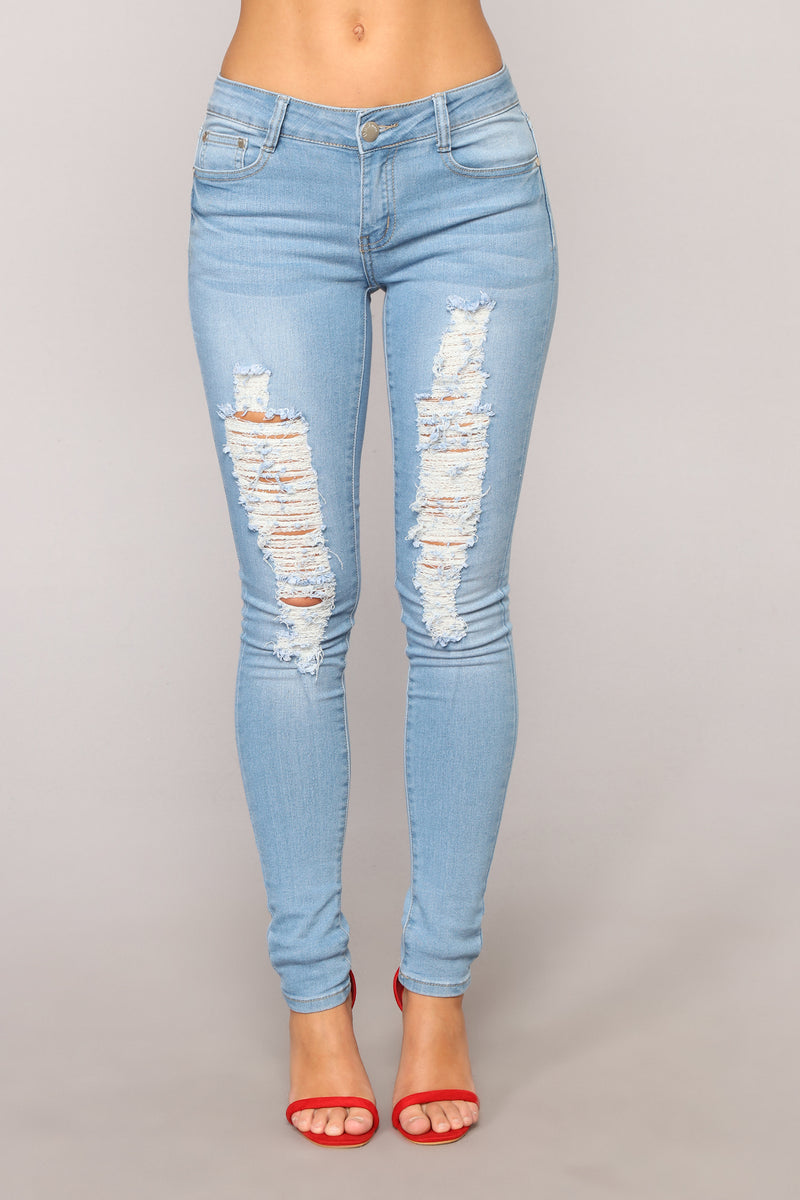 Get It Girl High Rise Distressed Jeans - Light Blue Wash