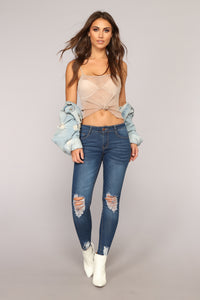 Girl On The Go Distressed Jeans - Medium Blue Wash Angle 2