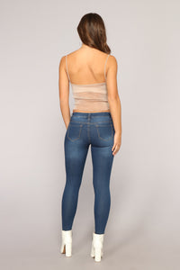 Girl On The Go Distressed Jeans - Medium Blue Wash Angle 6