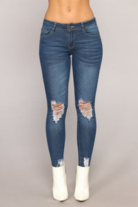 Girl On The Go Distressed Jeans - Medium Blue Wash Angle 1