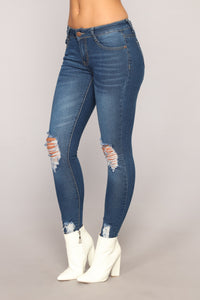 Girl On The Go Distressed Jeans - Medium Blue Wash Angle 3