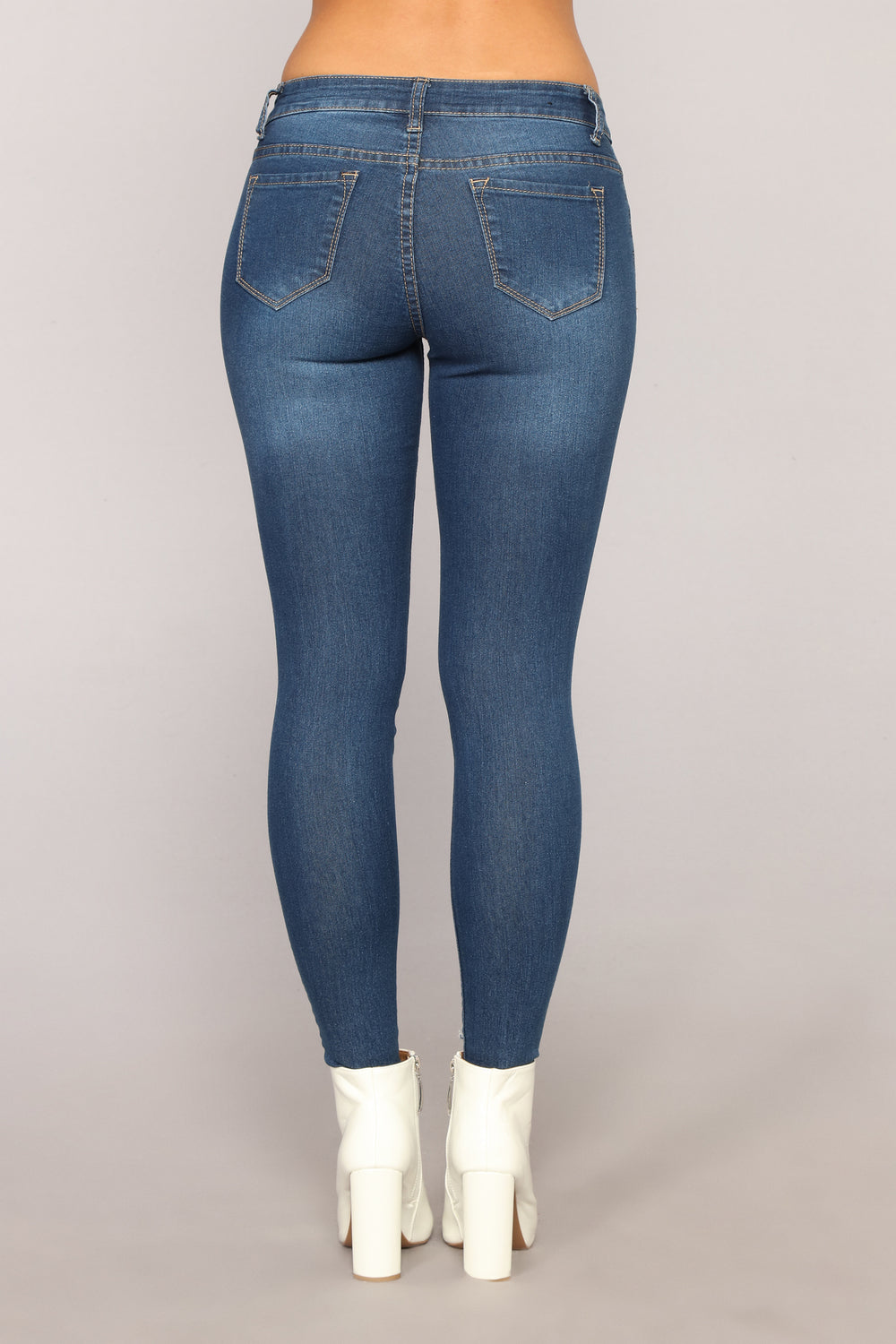 Girl On The Go Distressed Jeans - Medium Blue Wash