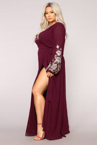 Trophy Wife Embroidered Dress - Wine