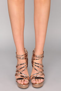 Rosalie Strappy Heels - Rose Gold