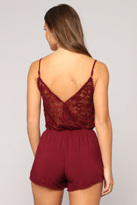 Slightly Sweet Romper - Burgundy Angle 4